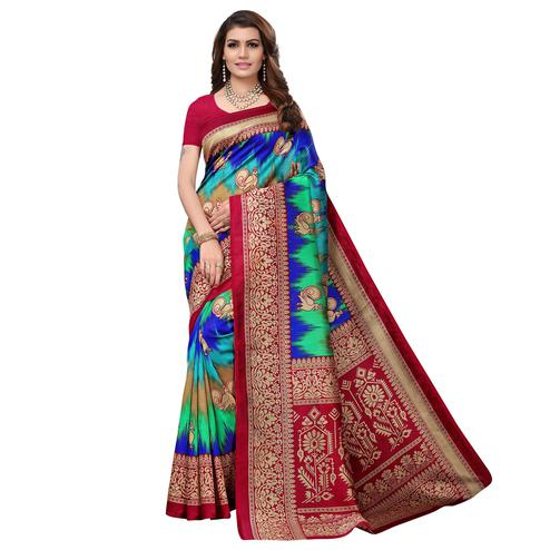 Alluring Maroon - Multi Colored Casual Wear Printed Art Silk Saree