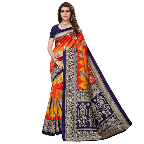 Radiant Navy Blue - Multi Colored Casual Wear Printed Art Silk Saree