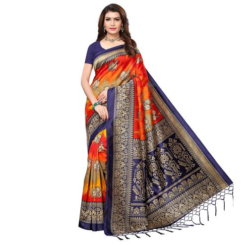 Opulent Navy Blue - Multi Colored Festive Wear Printed Art Silk Saree With Tassel