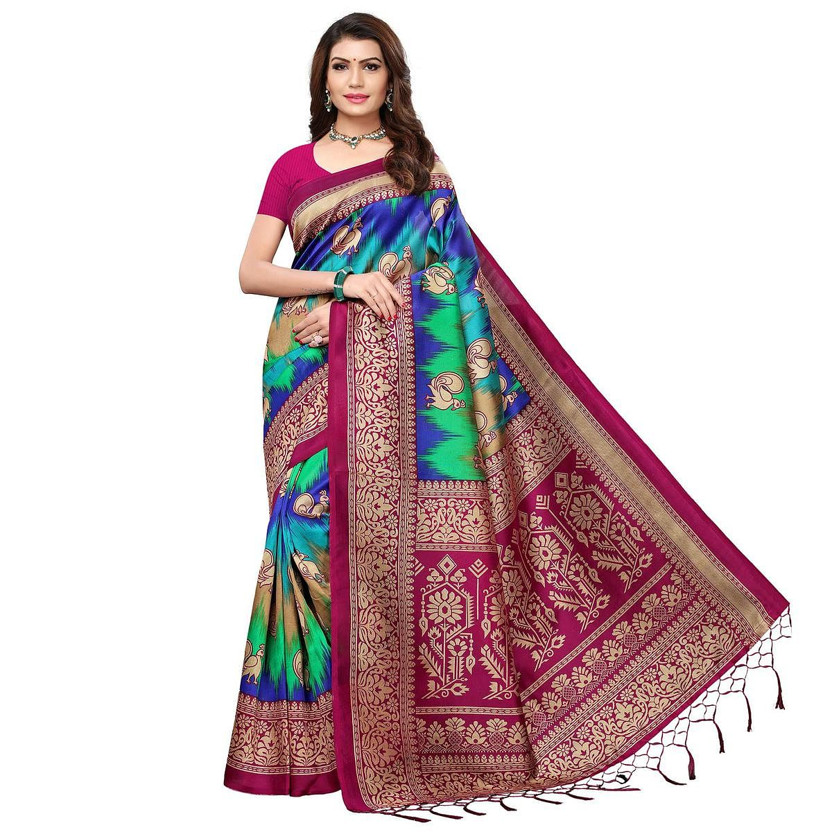 Flattering Magenta Pink - Multi Colored Festive Wear Printed Art Silk Saree With Tassel