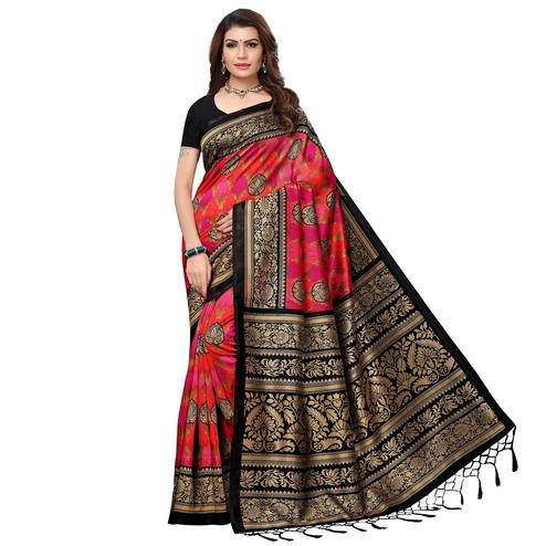 Arresting Black - Pink Colored Festive Wear Printed Art Silk Saree With Tassel