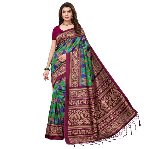 Exceptional Wine - Green Colored Festive Wear Printed Art Silk Saree With Tassel
