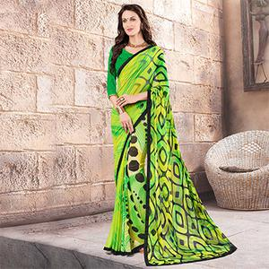 Green - Yellow Printed Georgette Saree