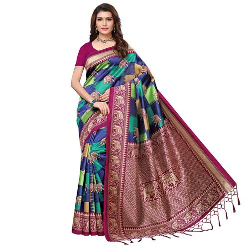 Ethnic Wine - Multi Colored Festive Wear Printed Art Silk Saree With Tassel