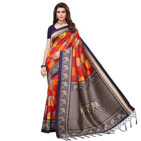Starring Navy Blue - Orange Colored Festive Wear Printed Art Silk Saree With Tassel