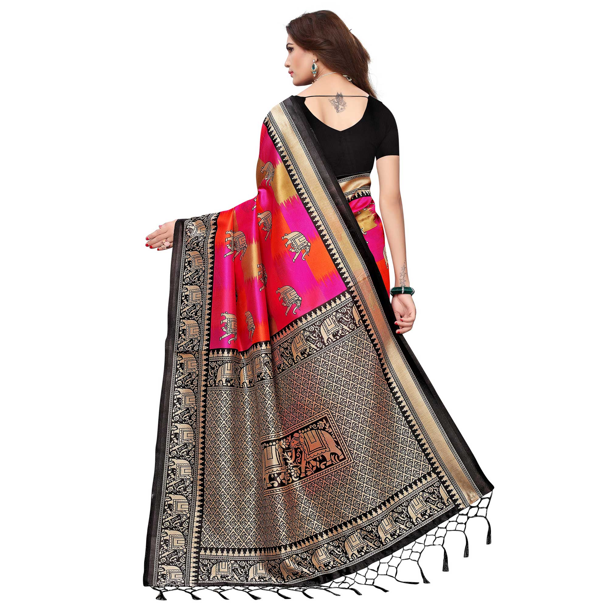 Surpassing Black - Pink Colored Festive Wear Printed Art Silk Saree With Tassel