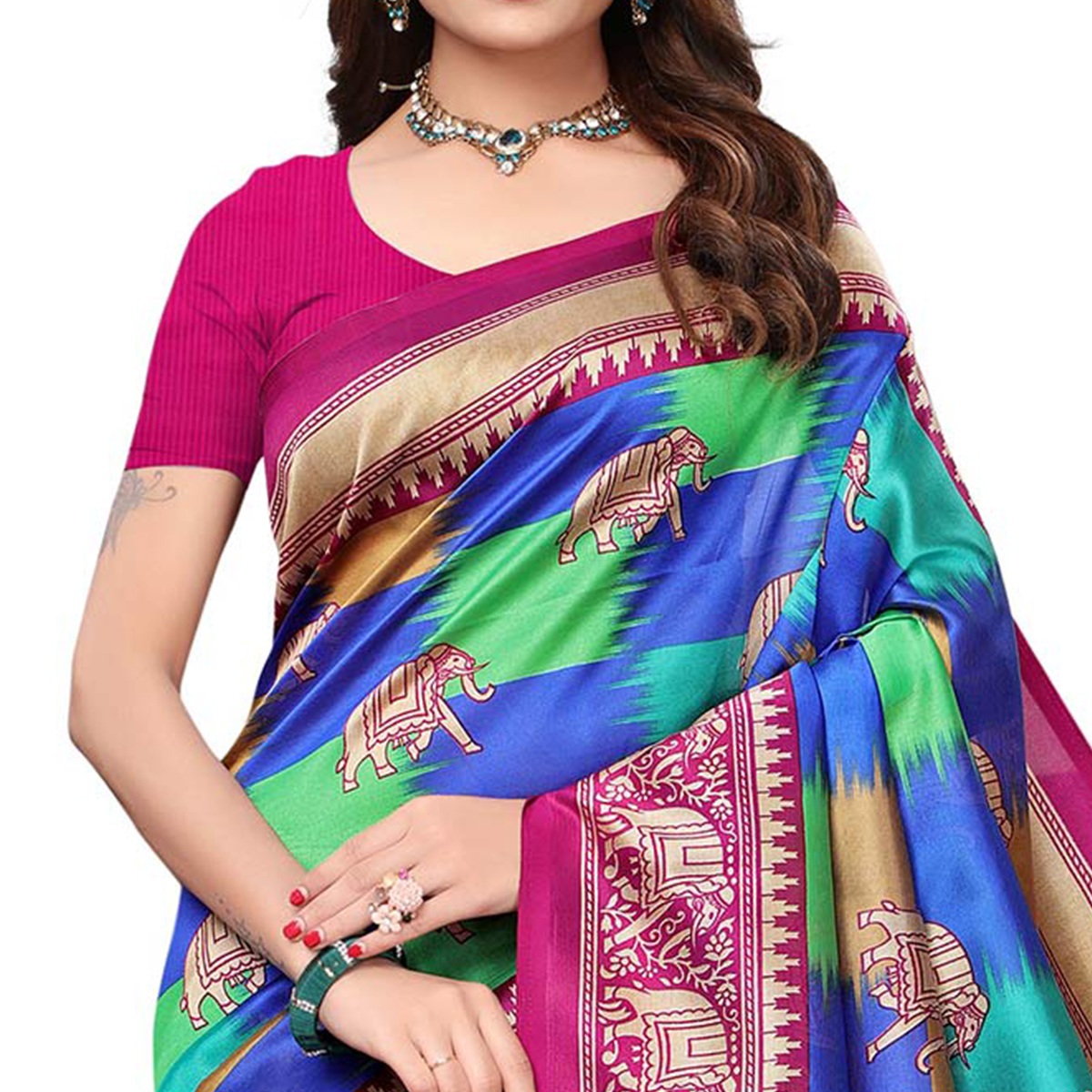 Entrancing Rani Pink - Multi Colored Festive Wear Printed Art Silk Saree With Tassel