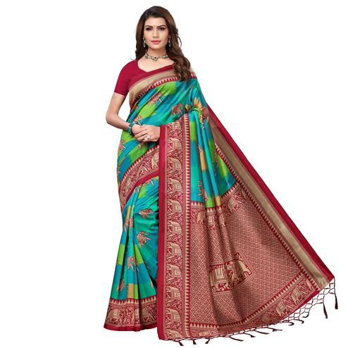 Imposing Red - Blue Colored Festive Wear Printed Art Silk Saree With Tassel