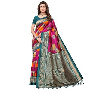 Blissful Rama Green - Pink Colored Festive Wear Printed Art Silk Saree With Tassel
