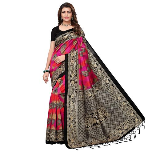 Ideal Black - Pink Colored Festive Wear Printed Art Silk Saree With Tassel