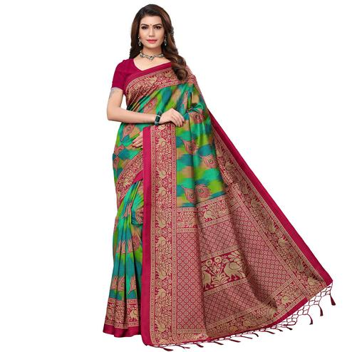 Engrossing Pink - Green Colored Festive Wear Printed Art Silk Saree With Tassel