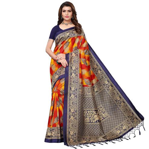 Fantastic Navy Blue - Orange Colored Festive Wear Printed Art Silk Saree With Tassel