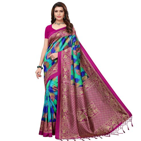 Staring Rani Pink - Blue Colored Festive Wear Printed Art Silk Saree With Tassel