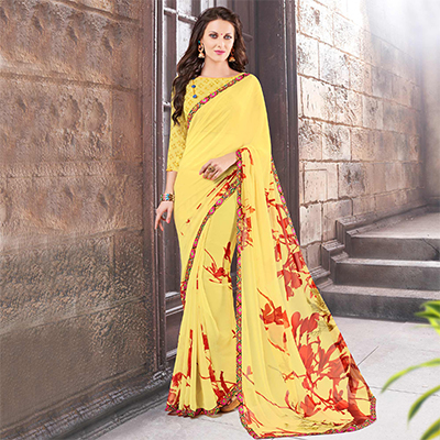 Yellow Casual Wear Fancy Georgette Saree