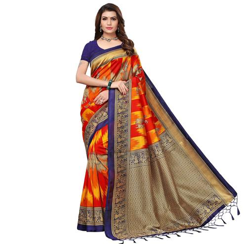 Pleasance Blue - Orange Colored Festive Wear Printed Art Silk Saree With Tassel