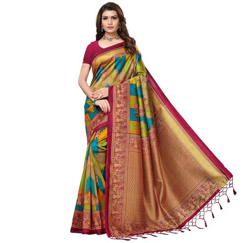Jazzy Maroon - Multi Colored Festive Wear Printed Art Silk Saree With Tassel