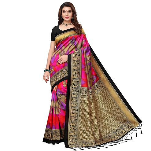 Appealing Black - Pink Colored Festive Wear Printed Art Silk Saree With Tassel