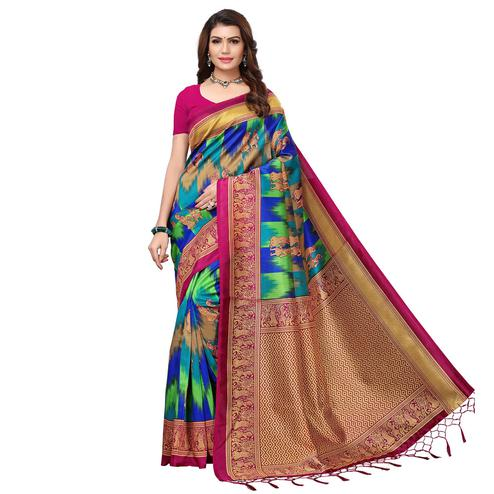 Groovy Pink - Multi Colored Festive Wear Printed Art Silk Saree With Tassel