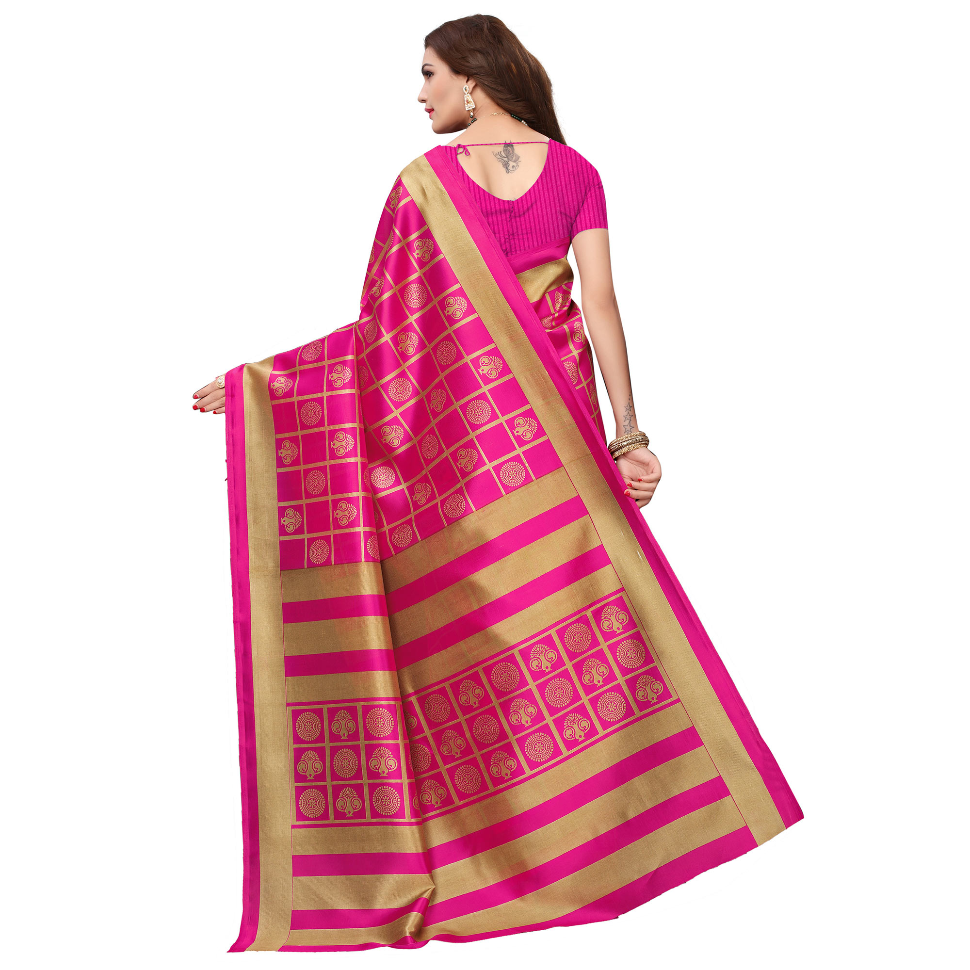 Prominent Pink Colored Casual Wear Printed Art Silk Saree