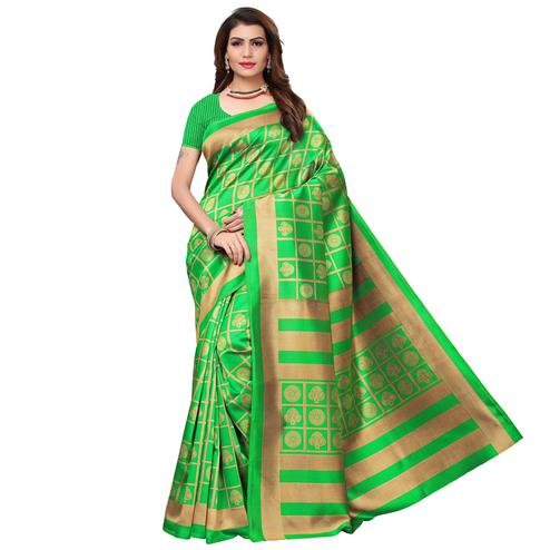 Capricious Green Colored Casual Wear Printed Art Silk Saree
