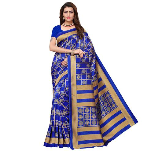 Adorning Royal Blue Colored Casual Wear Printed Art Silk Saree