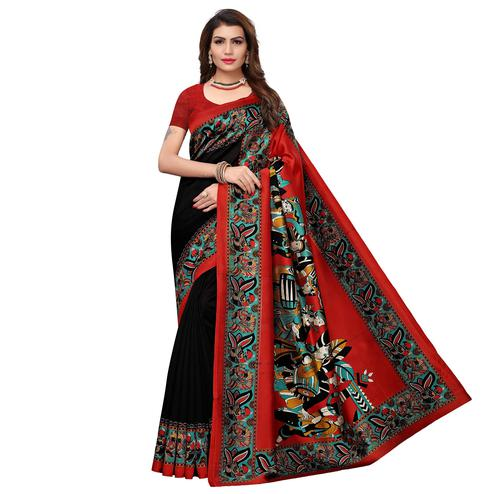 Captivating Black - Maroon Colored Casual Wear Printed Art Silk Saree