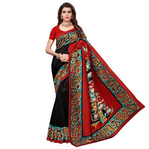 Flirty Black - Red Colored Casual Wear Printed Art Silk Saree