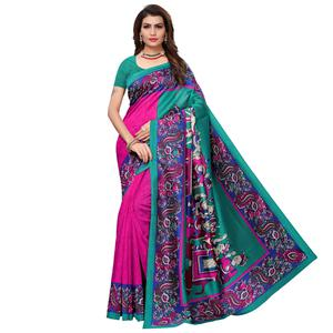 Glowing Pink - Teal Green Colored Casual Wear Printed Art Silk Saree