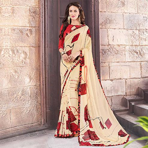 Cream Printed Georgette Saree