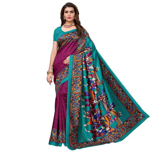 Hypnotic Wine - Teal Green Colored Casual Wear Printed Art Silk Saree