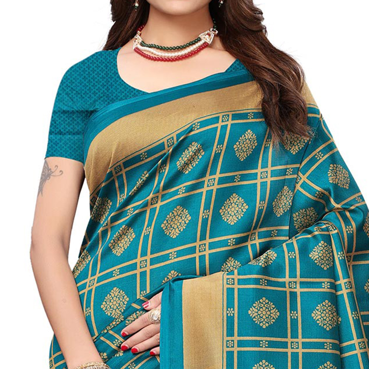 Trendy Rama Green Colored Casual Wear Printed Art Silk Saree