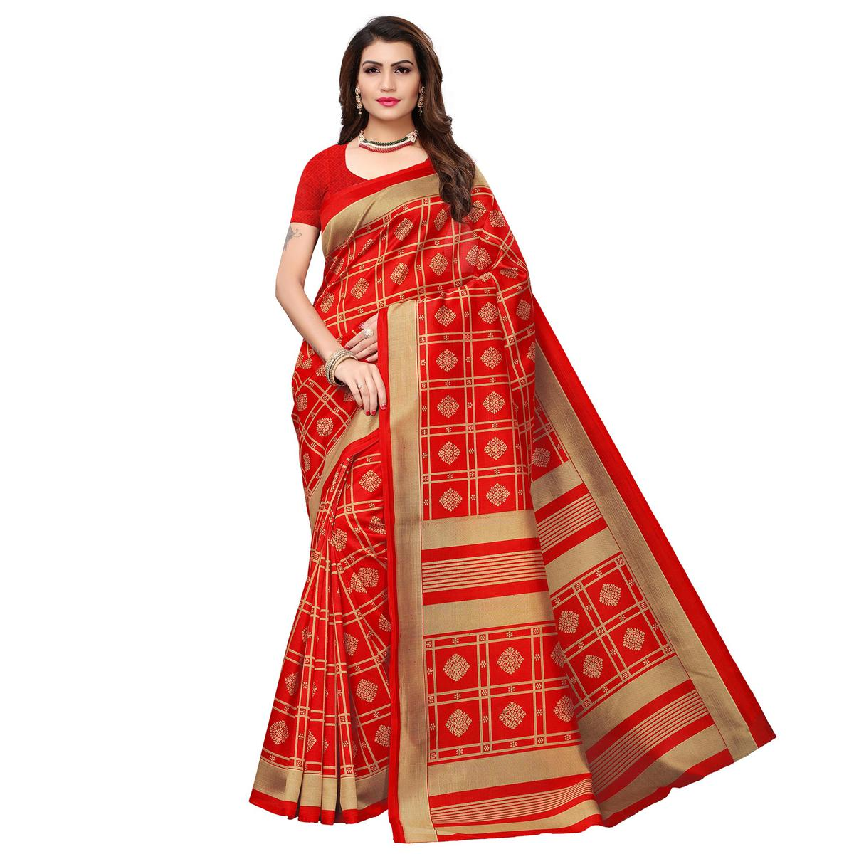 Adorable Red Colored Casual Wear Printed Art Silk Saree