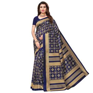 Attractive Navy Blue Colored Casual Wear Printed Art Silk Saree