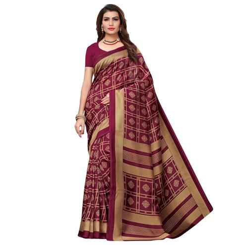 Beautiful Wine Colored Casual Wear Printed Art Silk Saree