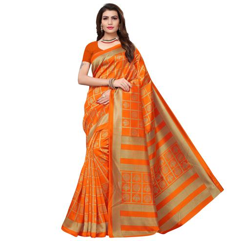 Gorgeous Orange Colored Casual Wear Printed Art Silk Saree