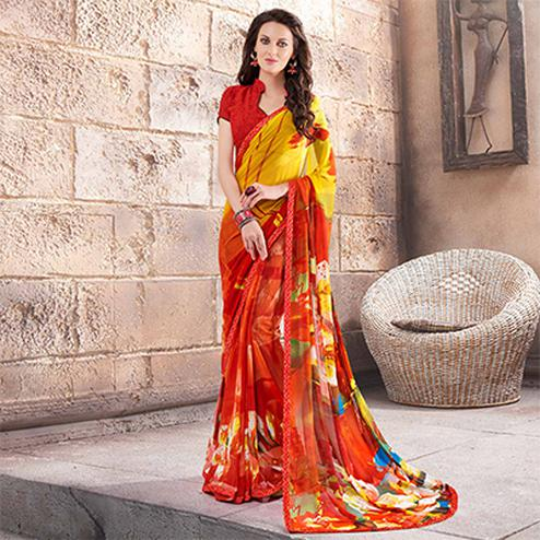 Orange - Yellow Printed Georgette Saree