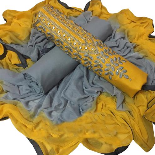 Sophisticated Yellow Colored Partywear Embroidered Cotton Dress Material