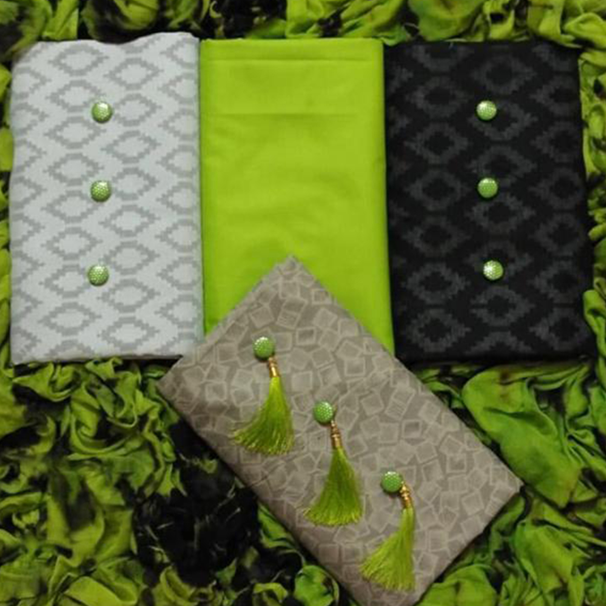 Refreshing Cotton-Lakda Jacquard Dress Material - Pack Of 3 Tops With 1 Light Green Bottom & Dupatta