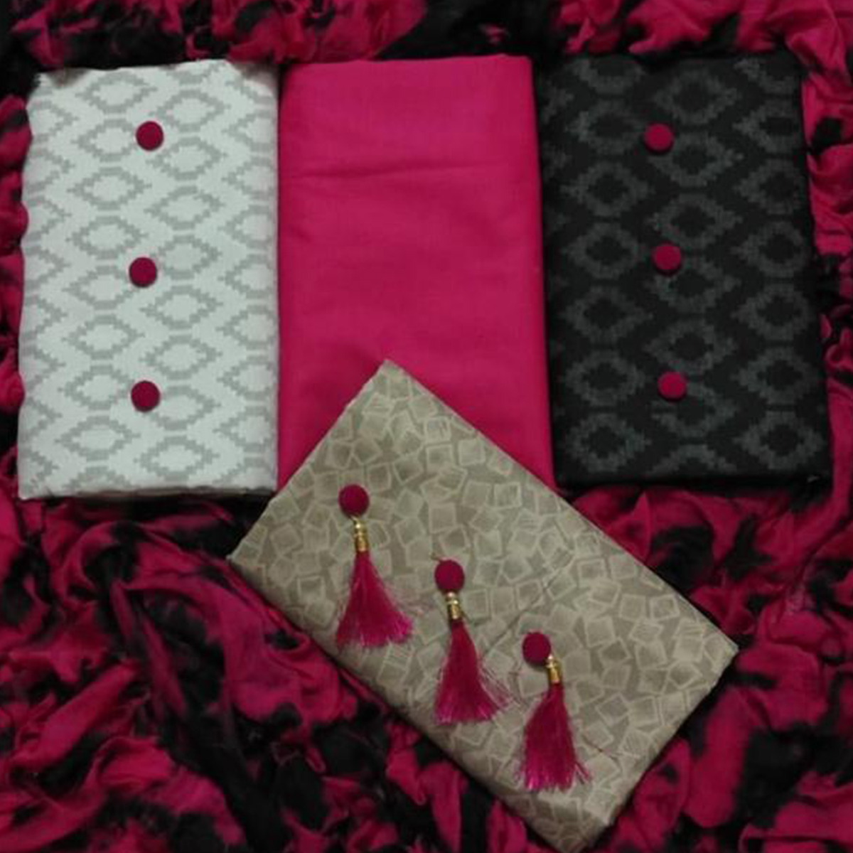 Stunning Cotton-Lakda Jacquard Dress Material - Pack Of 3 Tops With 1 Dark Pink Bottom & Dupatta