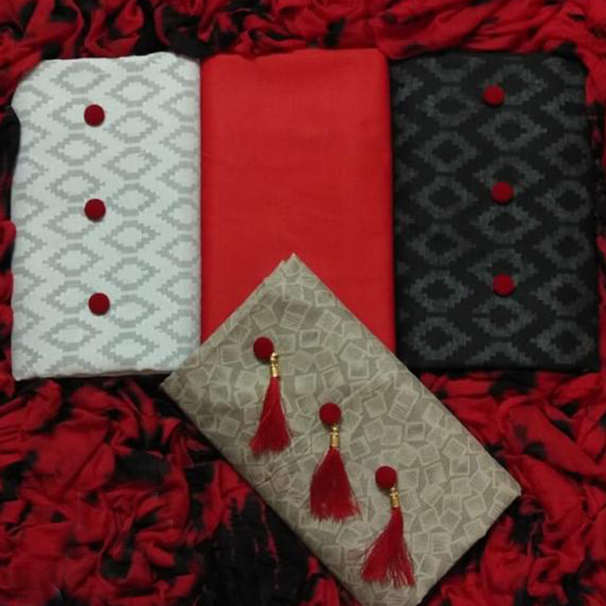 Gleaming Cotton-Lakda Jacquard Dress Material - Pack Of 3 Tops With 1 Red Bottom & Dupatta