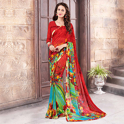 Red Fancy Print Georgette Saree