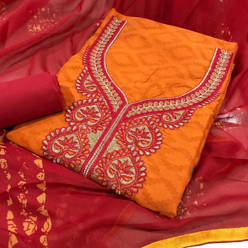 Classy Orange Colored Partywear Embroidered Cotton Jacquard Dress Material