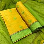 Glowing Yellow Colored Partywear Embroidered Cotton Jacquard Dress Material