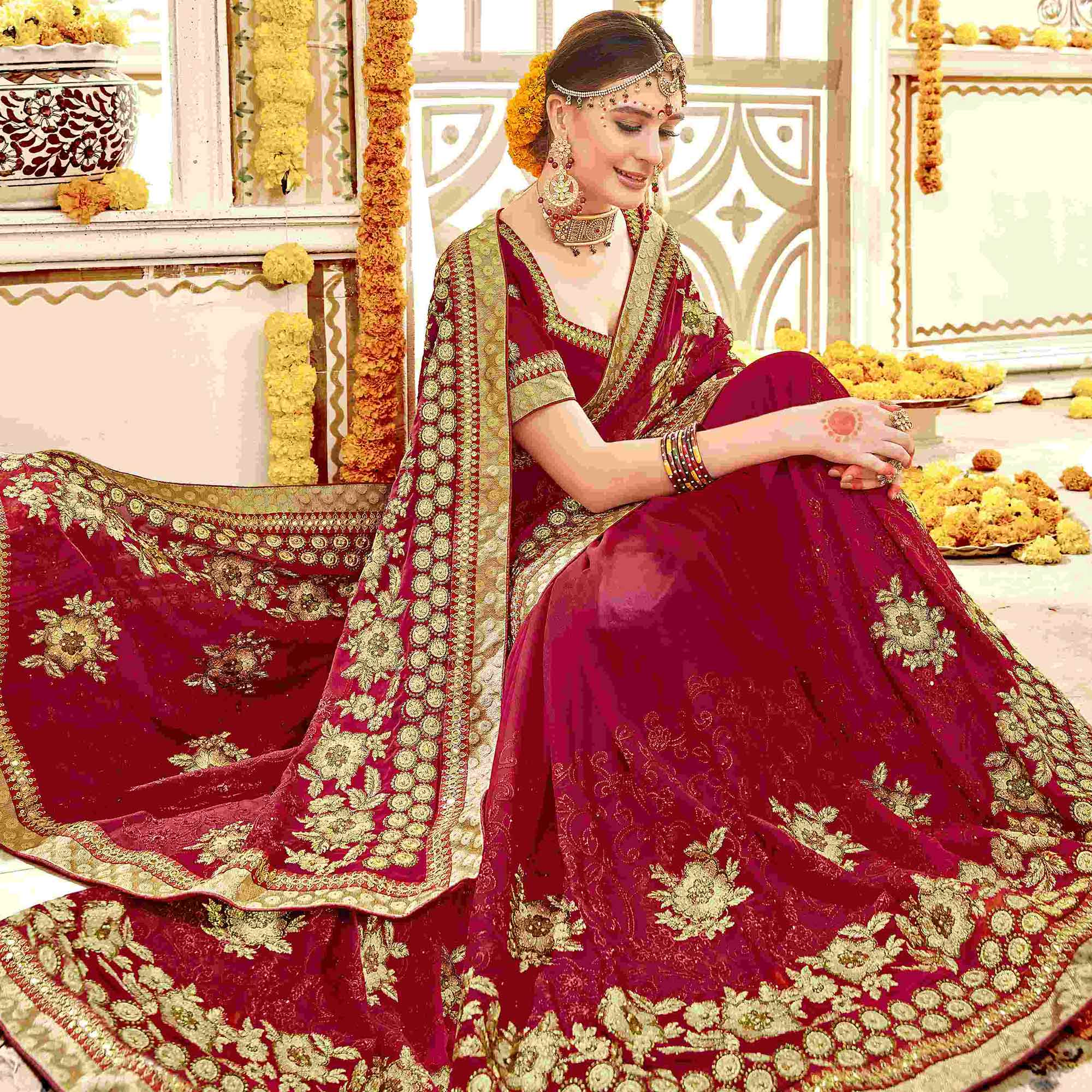 Eye-Catching Red Colored Partywear Embroidered Faux Georgette Saree