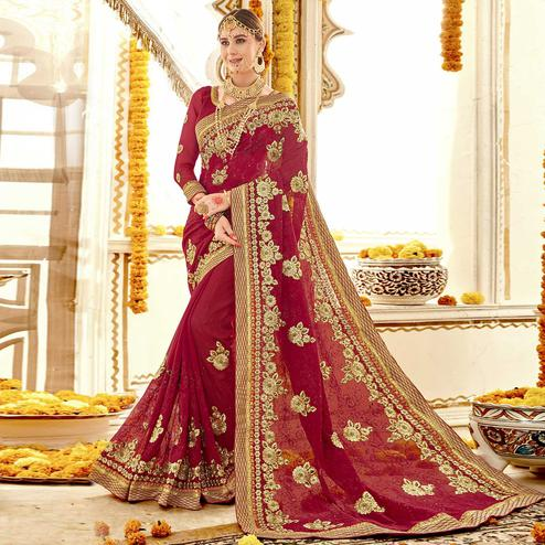 Amazing Red Colored Partywear Embroidered Faux Georgette Saree