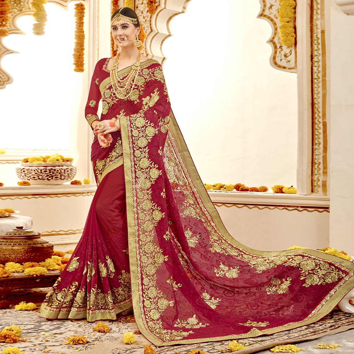 Exotic Red Colored Partywear Embroidered Faux Georgette Saree