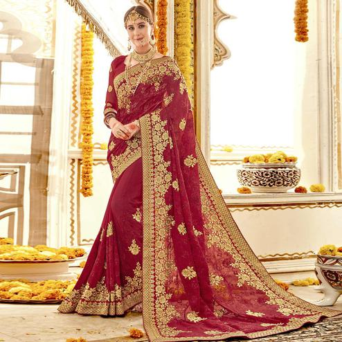 Majesty Red Colored Partywear Embroidered Faux Georgette Saree