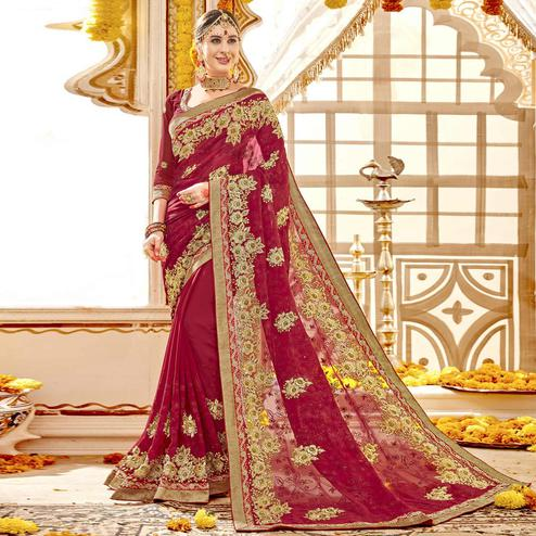 Preferable Red Colored Partywear Embroidered Faux Georgette Saree