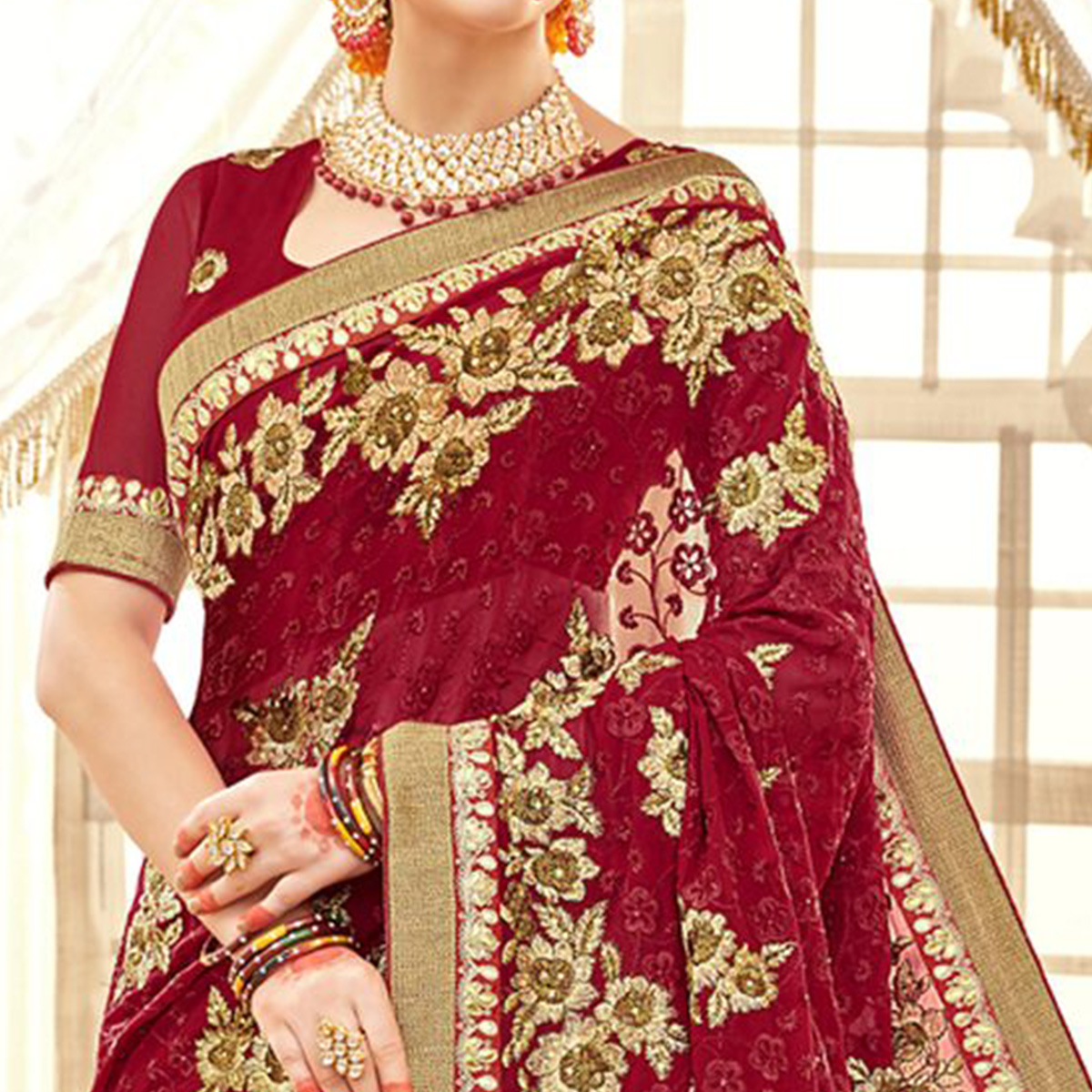 Attractive Red Colored Partywear Embroidered Faux Georgette Saree
