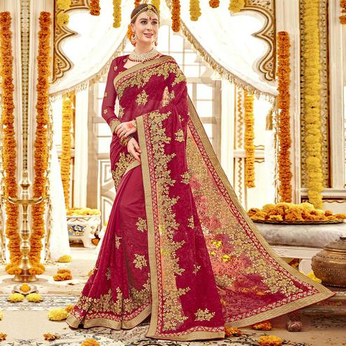 Gorgeous Red Colored Partywear Embroidered Faux Georgette Saree